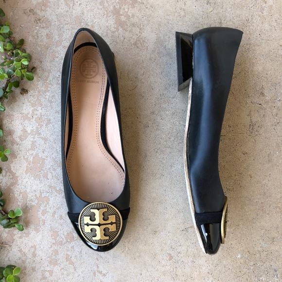 b9b9b0dfd1 Tory Burch Shoes | Black Gold Medallion Low Profile Heels | Poshmark
